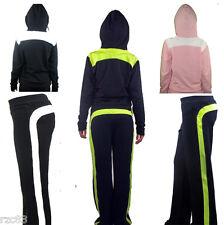 Señoras Mujeres Niñas Trotar Ejercicio Cremallera Con Capucha Chándal Completo Talla Sportswear