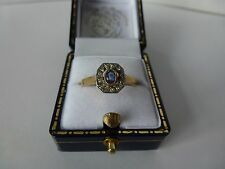 9ct 9carat Yellow Gold Antique Style Sapphire & Diamond Cluster Ring, Size P