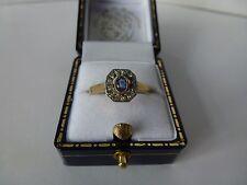 9ct oro amarillo de 9 quilates Estilo Antiguo Anillo De Zafiro & Diamond Cluster, Talla P