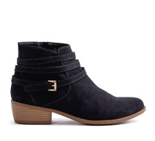 JustFab Roca Bootie Womens UK 3.5 Black Faux Suede Zip Up Ankle Boots FREE P&P
