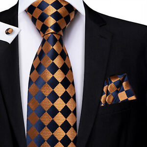 HT Men's Silk Tie Necktie Hanky Set Navy Bronze Geometric Checks Plaid Wedding