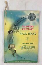 Dec 1966 Telephone Directory Hico Texas Gulf States Telephone Co