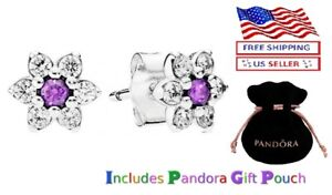 New Authentic S925 Silver PANDORA Forget Me Not, Purple Earrings Studs