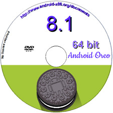 Android 8.1-r1 Oreo for PC x86 64 bit O/S Run live/install DVD Boot disc