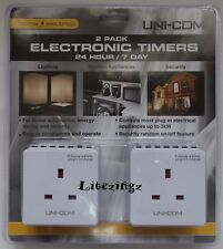 UNI-COM Digital Compact Electronic Timer 24 Hour / 7 Day Manual Override 2 Pack