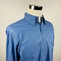 Zanella Mens Large Casual Shirt Blue White Brick Checker Cotton Button Front