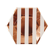 8 x LUXURY ROSE ORO METALLIZZATO METALLIC PIATTI PIATTI DI CARTA hexaganol 22cm