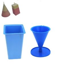 Set x 2, Rectangular Tapered Square Top & Cone Shaped Candle Moulds Molds. S7687