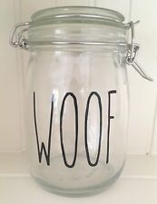 Rae Dunn Style Skinny Font WOOF Vinyl Decal Sticker - DIY Dog Treats Jar Label