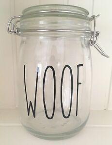 Rae Dunn Style Skinny Font WOOF Vinyl Decal Sticker - DIY Dog Treats Jar Label