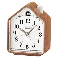 Seiko QHP005A Bedside Beep Alarm or 2 Bird Songs Clock - Wood Pattern Finish