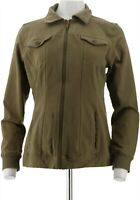 Denim & Co Comfy Knit Denim Zip-Front Jean Jacket Deep Olive 1X NEW A349249