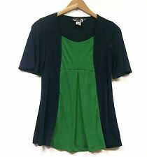 Carolyn Strauss Contrasting View Pleated Tunic Top NAVY BLUE  / JUNGLE GREEN XS