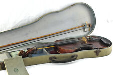 Antique Stradivarius Copy Violin With Case 3/4 Old VTG