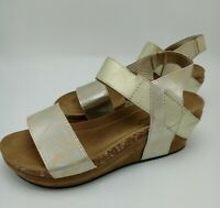 Pierre Dumas Chantal-2 Women's Strappy Rounded-Toe Wedge Gold Size 8.5 M