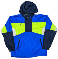 URBAN OUTFITTERS Hoodie Windbreaker Jacket 1990s Colorblock Blue Yellow Small S