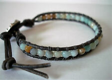 Faceted Amazonite Beaded Leather Wrap Bracelet Handcrafted Boho