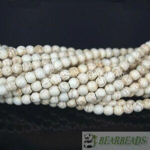 "White Howlite Turquoise Gemstone Round Beads 2mm 3mm 4mm 6mm 8mm 10mm 12mm 15"""