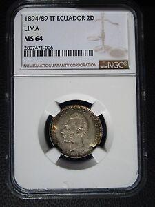 1894 /89 TF Ecuador Lima 2 Decimos, NGC MS 64
