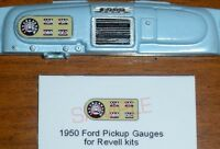 1950 FORD F-1 PICKUP TRUCK GAUGE FACES for 1/25 scale REVELL KITS