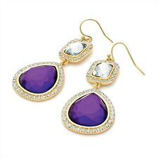 Gold & Crystal Stone Sparkly Drop Earrings Blue Purple Red Christmas Party Purple