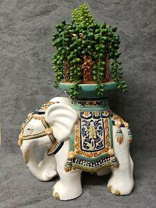 Vintage Asian Ceramic Large Elephant Figurine, Plant Pot Stand, Hand Painted 💜