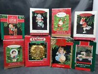 Vintage Lot of 8 Hallmark Keepsake Christmas Ornaments Santa Variety 1980s-2000
