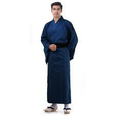 Traditional Japanese Men Yukata Kimono Vintage Samurai Robe Obi Cotton Blue