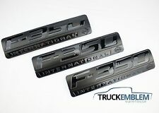 3 NEW SET CUSTOM MATTE BLACK F350 POWERSTROKE INTERNATIONAL FENDER BADGES