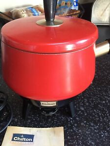 Vintage Chilton Electric Fondue Pot 92 Fully Automatic Temp Control Red WORKS