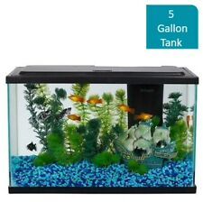 5-Gallon Aquarium Starter Kit Glass Fish Tank with LED Light Reptile Pet Habitat