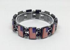USA Flag Hematite Stretch Bracelet  Pulsera De La Bandera De Estados Unidos