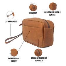 Genuine Leather Travel Toiletry Bag Men Shaving Kit Women Grooming Cosmetic Case