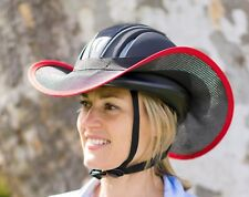 """HORSE RIDING HELMET BRIM VISOR SHADE  """"NEW """" ONE SIZE FITS BLACK WITH RED"""