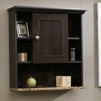 Brown Wooden Over Toilet Cabinet Organizer Storage Shelves Bathroom Wall Mount