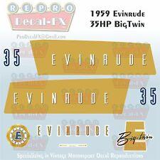 1959 Evinrude 35 HP Big Twin Outboard Repro 8 Pc Marine Vinyl Decals 35012-35013