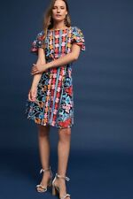 NWT Anthropologie Eva Franco Farrah Multicolored Embroidered Fit & Flare Dress 8