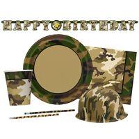 MILITARY CAMO Party Tableware & Decorations (Birthday/Napkins/Plates/Army)