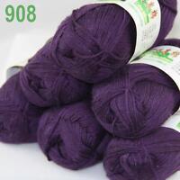 Sale New 6X50g balls Fingering  Soft Bamboo Cotton Hand Knitting Yarn Purple 908
