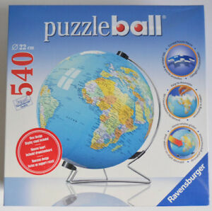 PUZZLE BALL WORLD GLOBE 540 PIECES ROUND JIGSAW PUZZLE V-STAND RAVENSBURGER NEW