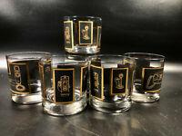 GTE 5 12oz Tumblers Drink Glasses Gold Trim Advertising General Telephone