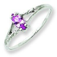 14k White Gold Polished Genuine Pink Tourmaline October Birthstone Ring Size 6