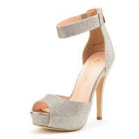 SWAN-05 New Women Ankle Strap Back Zipper Peep Toe High Heel Platform Pump Shoes