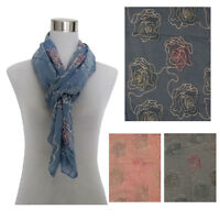 Womens cotton Embroidered Scarf wrap shawl blue grey coral