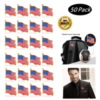 Lot of 50 AMERICAN FLAG LAPEL PINS United States USA Hat Tie Tack Badge Pin