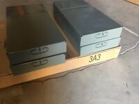 "SAFE DEPOSIT BOX  METAL BOX  VINTAGE 3x10x21.5"" Used lot of four"