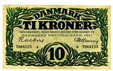 """Denmark … P-37d … 10 Kroner … 1947 … *F-VF* ... Letter """"e""""."""