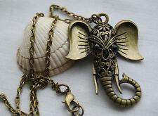 Retro vintage style antique bronze look necklace lucky elephant pendant