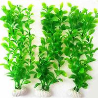 """10.6"""" Height Green Plastic Artificial Water Plants Tank For Aquarium Fish U F5X6"""