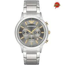 Boxed Emporio ARMANI 2017 AR11047 Silver/gold Chronograph Watch 2yr WTY